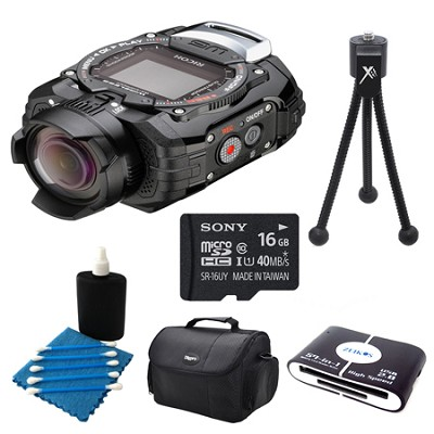 WG-M1 Compact Waterproof Action Digital Camera Kit - Black Deluxe Bundle