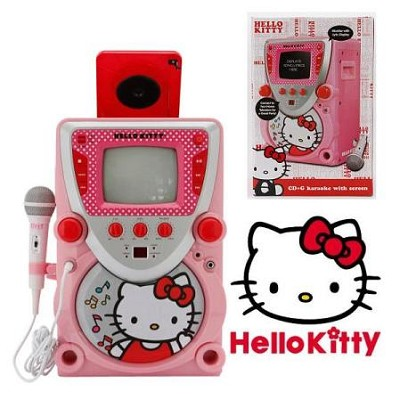 CD Karaoke System with Screen - Pink/ White (68109)
