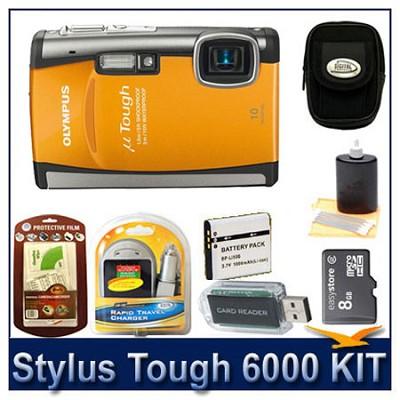 Stylus Tough 6000 10MP 2.7` LCD Digital Camera (Orange) Sensible Mega Bundle