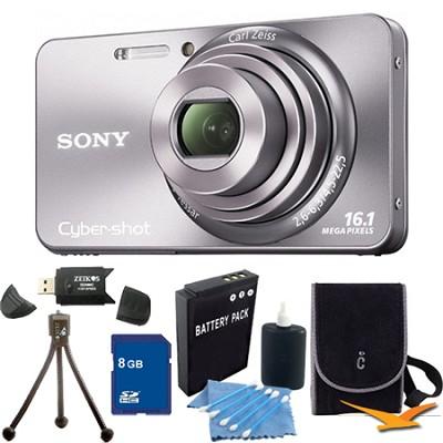 Cyber-shot DSC-W570 Silver Digital Camera 8GB Bundle