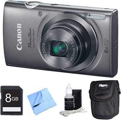 PowerShot ELPH 160 20MP 8x Opt Zoom HD Digital Camera - Silver 8GB Bundle