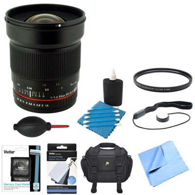 24mm F1.4 Wide Angle Lens for Canon DSLR Cameras w/ Accessories Bundle