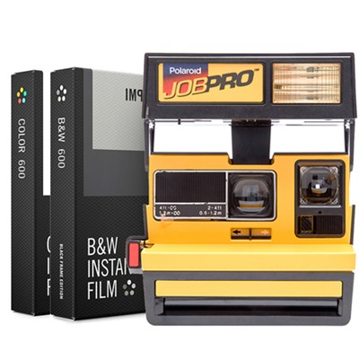 Polaroid 600 Job Pro Instant Film Camera, Flash Yellow w/ Dual Film Bundle
