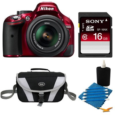 D5200 DX-Format Red Digital 16 GB SLR Camera and 18-55mm VR Lens Bundle