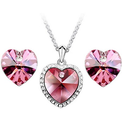 18k Gold Plated Crystal Elements Heart Shape Jewelry Set (Rose)