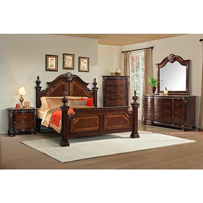 Lakeside 5PC Bedroom Suite: QBed Chest Dresser Mirror Nightstand
