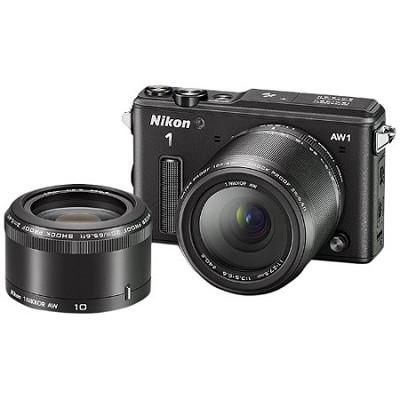 1 AW1 14.2MP Waterproof Digital Camera w/ AW 11-27.5mm & AW 10mm Lenses - Black