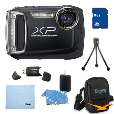 Finepix XP100 14MP CMOS Digital Camera 8 GB Bundle (Black)