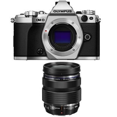 OM-D E-M5 Mark II Micro Four Thirds Silver Digital Camera 12-40mm Lens Bundle