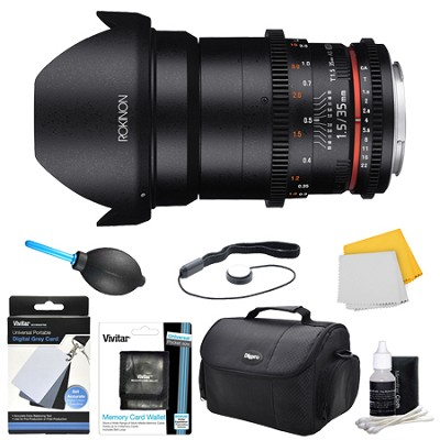 DS 35mm T1.5 Full Frame Wide Angle Cine Lens for Sony E Mount Accessory Bundle