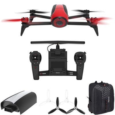 Bebop 2 Quadcopter Drone with HD Skycontroller Bundle (Red) Mobile Command Kit