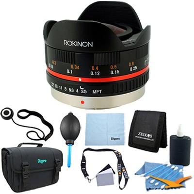 FE75MFT-B - 7.5mm F3.5 UMC Fisheye Lens for Micro Four Thirds - Lens Kit Bundle