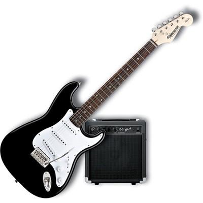 fender starcaster strat electric guitar starter pack black. Black Bedroom Furniture Sets. Home Design Ideas