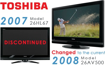 26HL67 - 26` High-definition LCD TV (changed to the 26AV500 current 2008 model)