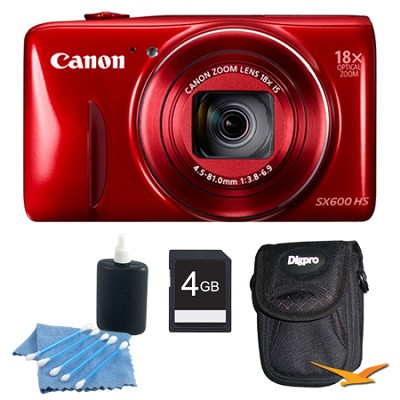PowerShot SX600 HS 16.1MP 18x Zoom 3-inch LCD Red Kit