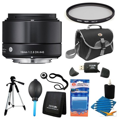 19mm F2.8 EX DN ART Black Lens for Micro Four Thirds Filter Bundle