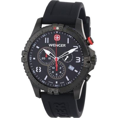 Men's Squadron Chrono Watch - Black Dial/Black Silicone Strap