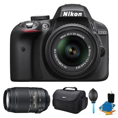 D3300 DSLR HD Black Camera, 18-55mm Lens, 55-300mm Lens and Case Bundle