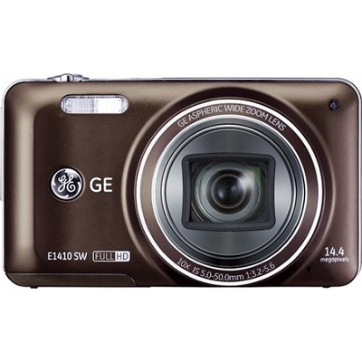 E1410SW-BW Full HD 1080p 10X, 3` LCD 14MP Brown Digital Camera with CMOS Tech.