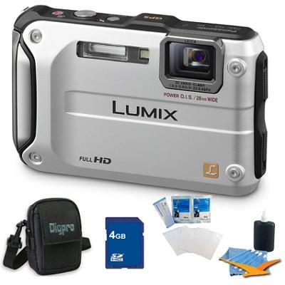 Lumix DMC-TS3 Silver Shockproof Freezeproof Dustproof Camera 4GB Bundle