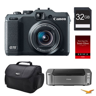 Powershot G15 Digital Camera, 32GB, Printer Bundle