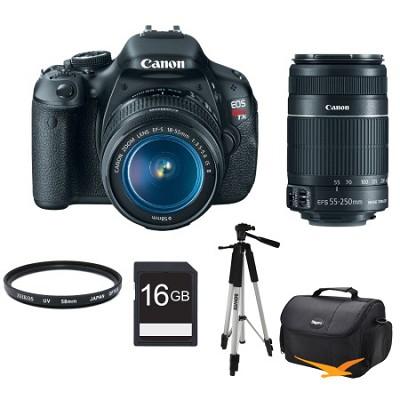 EOS Digital Rebel T3i 18MP SLR Camera 18-55mm IS + 55-250mm Greatest Rebel Kit