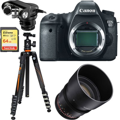 EOS 6D 20.2 MP DSLR Camera Body + Rokinon 85mm Cine Lens Bundle