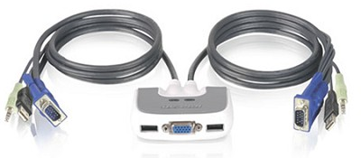 2 Port Compact USB KVM Switch w/built-in 6ft cable and audio Support