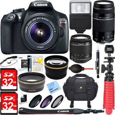 EOS Rebel T6 Digital SLR Camera w/ EF-S 18-55mm IS + EF-S 75-300mm Lens Bundle