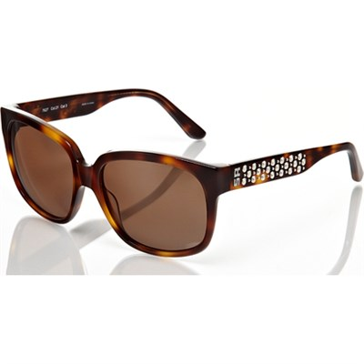 Tortoise-Brown Sunglasses with Silver-Studded Detail - OPEN BOX