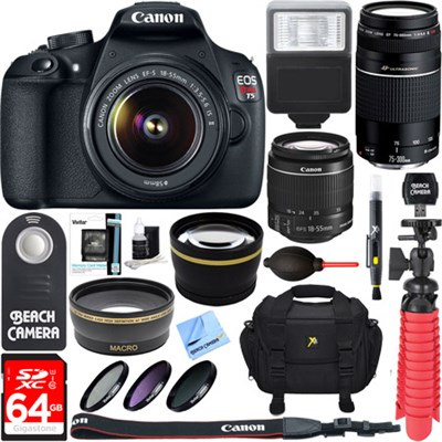 EOS Rebel T5 DSLR Camera + EF-S 18-55mm & 75-300mm Lens Kit 64GB Memory Bundle