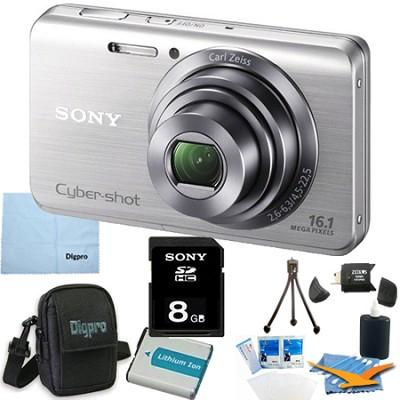 Cyber-shot DSC-W650 Silver 8GB Digital Camera Bundle