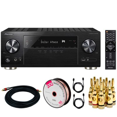 7.2-Ch Network AV Receiver w/Dolby Atmos w/HDCP 2.2 + Power Cable Bundle