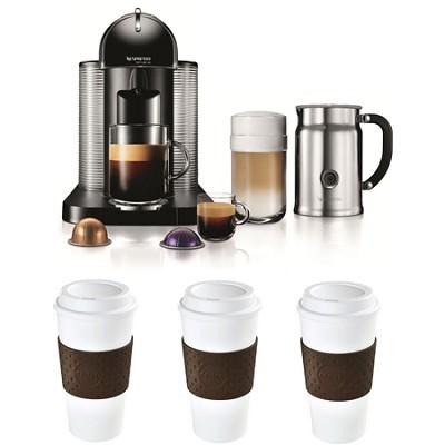 VertuoLine Coffee/Espresso Maker (Black) Reusable To Go Mug 3-Pack Bundle