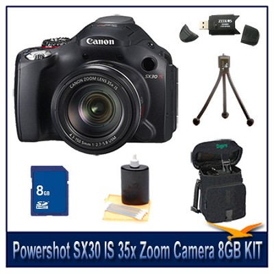 Powershot SX30 IS Camera 8GB Bundle w/ Reader, Case, Cleaning Kit and Tripod