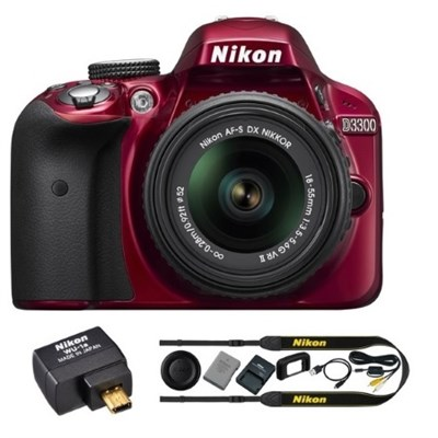 Refurbished D3300 24.2MP DSLR Camera w/ 18-55 VR II Lens Wifi Kit (Red)