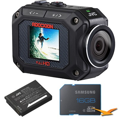 GC-XA2 ADIXXION Full HD Action Camera w/Waterproof 16GB Memory Card and Battery