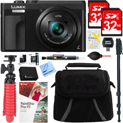 LUMIX DMC-ZS70K 20.3 MP Digital Camera (Black) + 32GB Dual Memory Accessory Kit