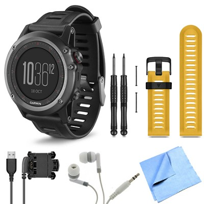 fenix 3 Multisport Training Gray GPS Watch Yellow Band Bundle