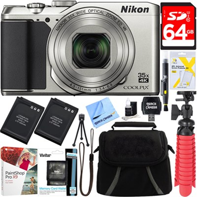 COOLPIX A900 20MP HD Digital Camera WiFi 35x Optical Zoom (Silver) + 64GB Bundle
