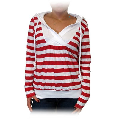 Nautical Stripe Lightweight Hoodie with Pull String - Red/White (Size: XLarge)