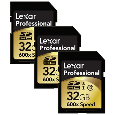 32GB Professional 600x SDHC UHS-I Class 10 Memory Card 3-Pack