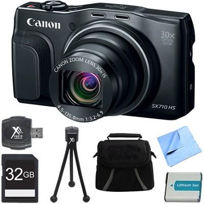 PowerShot SX710 HS 20.3MP 30x Opt Zoom HD 1080p Digital Camera Black 32GB Bundle