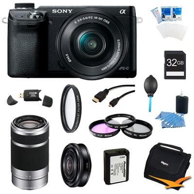 Alpha NEX-6 Camera 16-50mm Lens (Black) 55-210mm SEL 16mm f 2.8 Lens Bundle