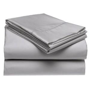 400 Thread Count Cotton Rich Sateen Solid Sheet Set - Grey (Queen)