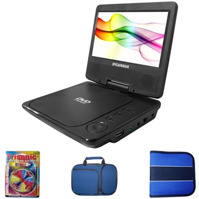 7` Swivel Screen Portable DVD Player w/ Cleaning + Carrying Case Bundle
