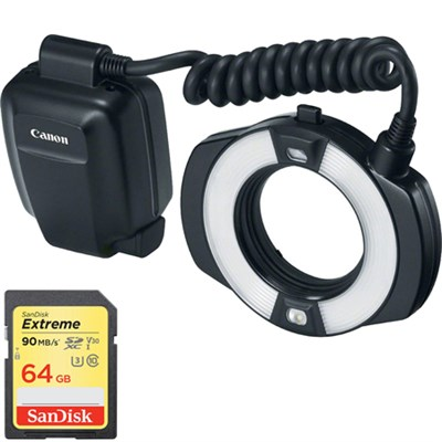 Macro Ring Lite MR-14EX II Flash w/ Lexar 64GB Memory Card
