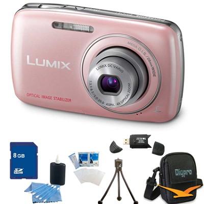Lumix DMC-S1 12MP Compact Pink Digital Camera w/ 720p HD Video 8GB Bundle
