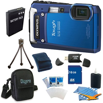 16 GB Kit Tough TG-820 iHS 12MP Water/Shock/Freezeproof Digital Camera - Blue