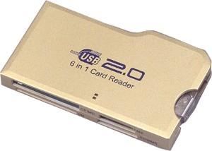 6-IN-1 HIGH-SPEED USB 2.0 CARD READER {CF, MicroDrive, SM, MMC, SD & Mem. Stick)